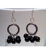Earrings Sterling Silver Dangle Black Onyx Bead... - $9.99