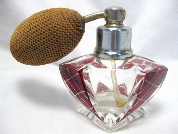 Art Deco Ruby Stained Perfume Bottle With Atomizer, Old 1925-1930