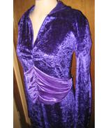 Vintage 70s Renaissance Velvet Hooded Purple Dr... - $9.95