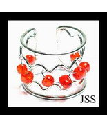 Red Glass Silver Ring One Size Fits All - $12.98
