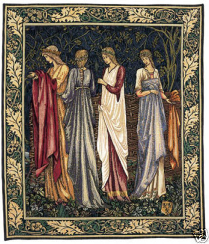 46x38 CAMELOT LADIES Medieval Art Tapestry Wall Hanging