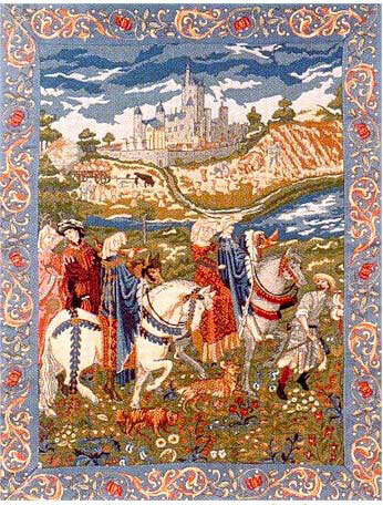 46x34 Medieval NOBLE Castle Horse Tapestry Wall Hanging