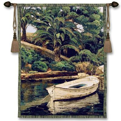 52  BARCA PALMERAS Boat Tropical Tapestry Wall Hanging