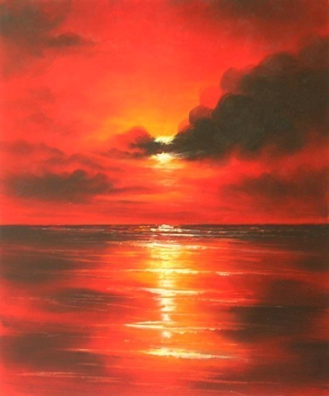 36x24 SEA SUNSET Oil Painting Canvas Art Wall Hanging