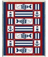 48x69 NAUTICAL FISH Sailing Lighthouse Afghan T... - $49.99
