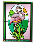 10x14 Stained Art Glass FLAMINGO Tropical Sunca... - $42.00