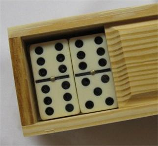 DOMINOES  Wood Box Dominos Double Six Jumbo Ivory BIN