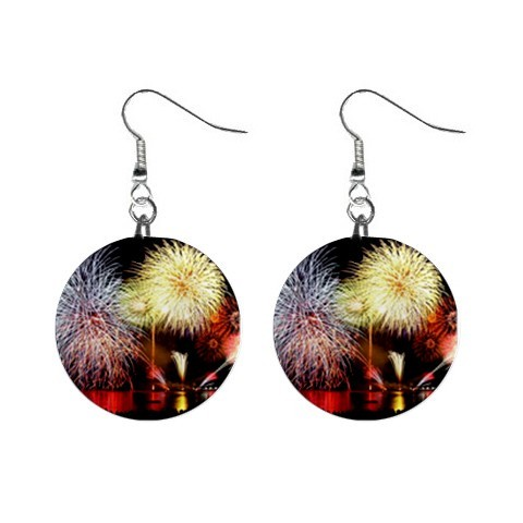 "Fireworks 1"" Button Earrings"