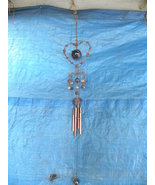 Vintage Wind Chime Heart Baubles Flowers Copper... - $25.00
