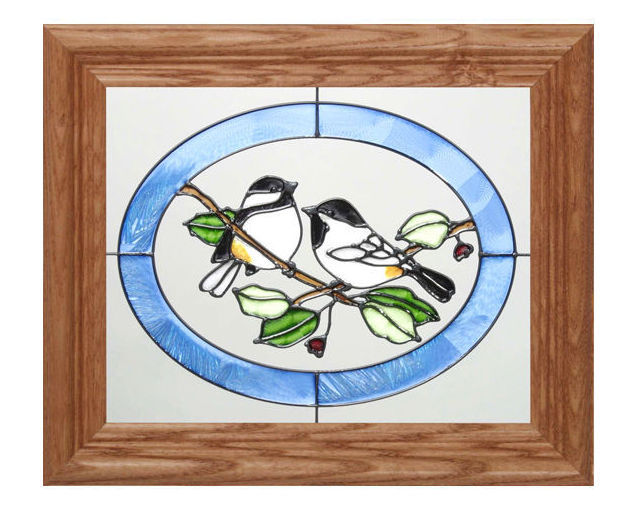 10x12 Stained Glass CHICKADEE Bird Wall Hang Suncatcher