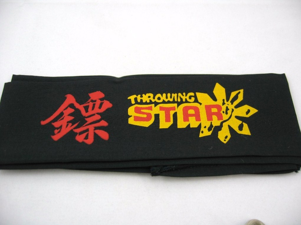 "BLACK MARTIAL ARTS NINJA THROWING STAR HEAD BAND 42""new"