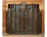Buy Iron 3 Three Panel Antique Gold Scroll Fireplace Screen