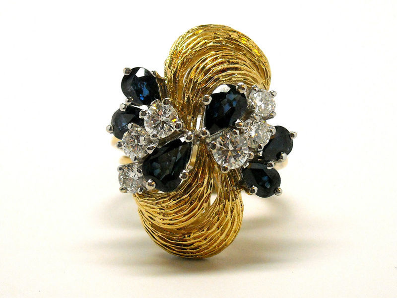 New 18K Yellow Gold Burmese Sapphire & Diamond Ring 4.50 cts Size 6 Retail $9500