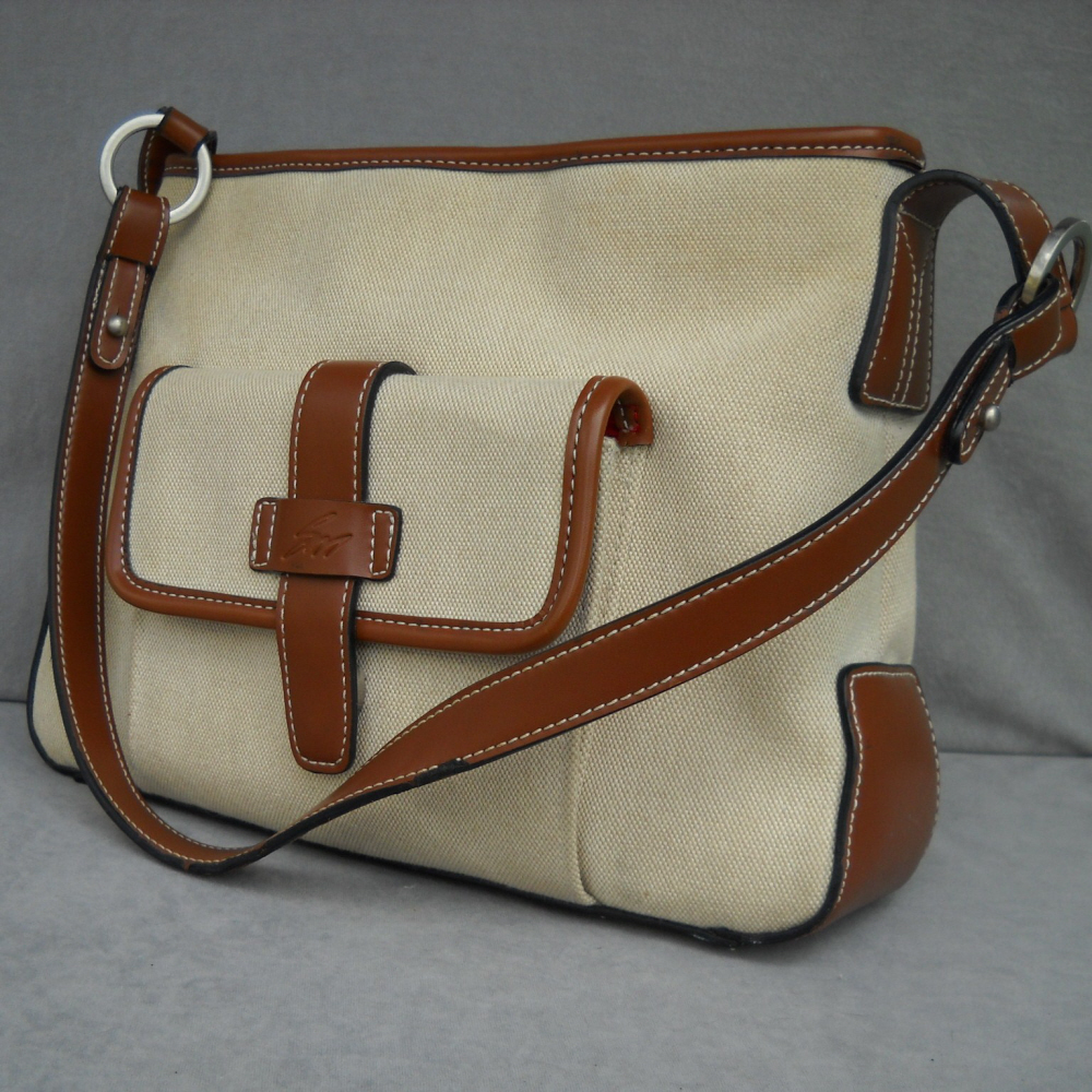Canvas Handbag Leather Trim Stone Mountain Shoulder Bag