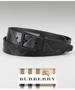 BURBERRY AUTHENTIC EMBOSSED CHECK BLACK LEATHER MEN BELT MADE IN ITALY BRAND NEW - $359.00