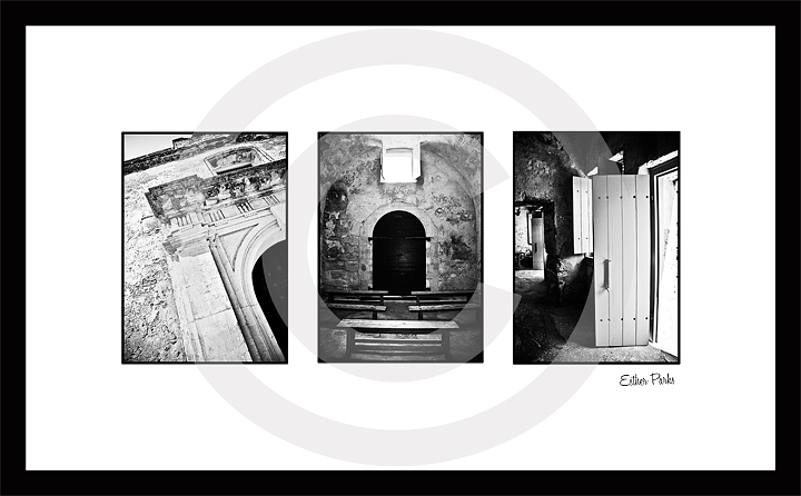 Framed 21x13 B/W Trio of Fine Art Prints - Fort Castillo de San Marcos (Florida)