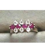 C.A. Mid Century Modern Ruby & Cut Stone Sterli... - $39.95