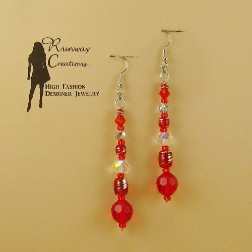 Trendy Scarlet Red/Clear Mix Glass Drop Earrings