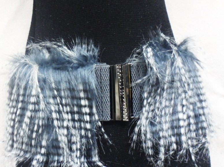 "WOMEN BLUE ELASTIC  BELT FUR FAUX  HAIR CHIC SILVER BUCKLE 29""-36"""