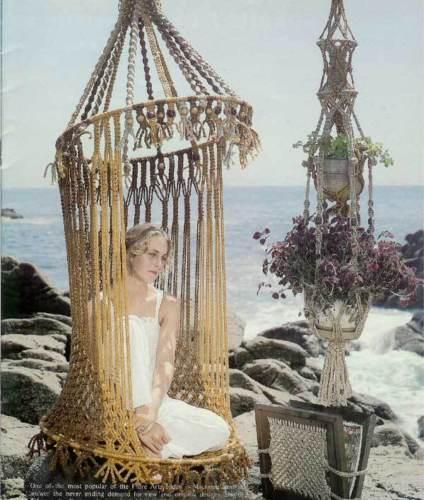 Macrame birdcage chair bikini butterfly shawl pattern for Macrame hammock chair pattern