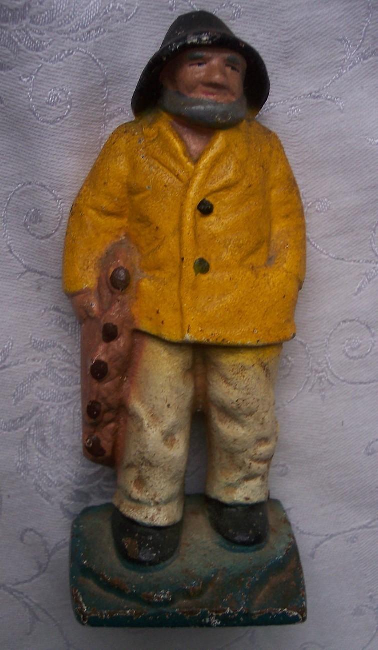 Vintage Cast Iron Old Salt Fisherman Doorstop Bookend