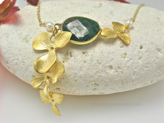 22k Gold Emerald Bezel Set Necklace  16k Gold Plated Orchids  freshwater pearls