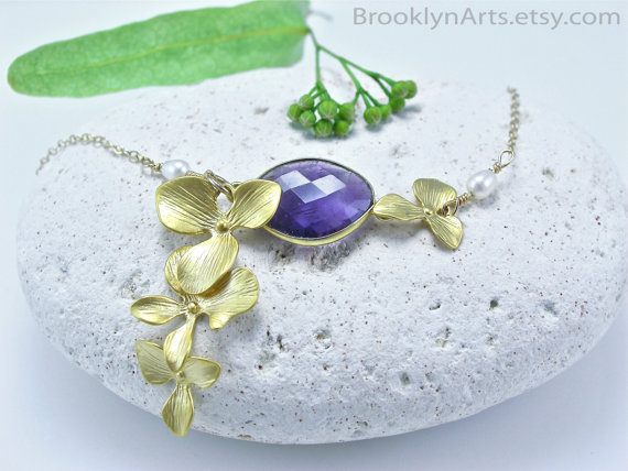 22k Gold Amethyst Bezel Set Necklace, 16k Gold Plated Orchids, freshwater pearls