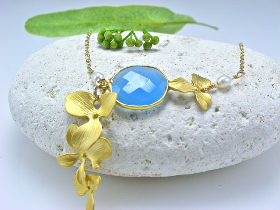 22k Gold Chalcedony Bezel Set Necklace  16k Gold Plated Orchids  freshwater pear