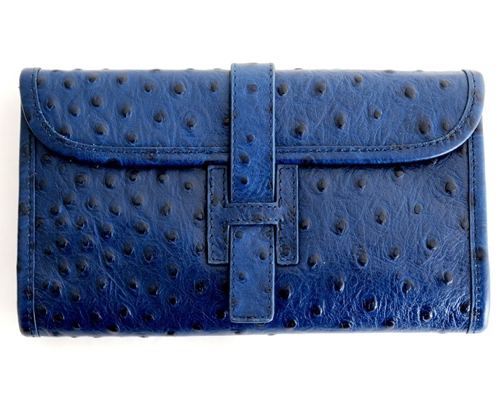 H Purse Dark Blue Ostrich