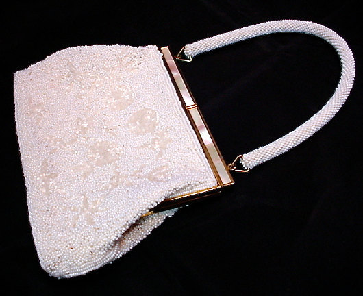 Vintage White Beaded Purse MOP Frame Hand Made Bag Evening 1940s 1950s