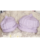 2 hand knitted baby hats new born & 6 months lilac - $10.00