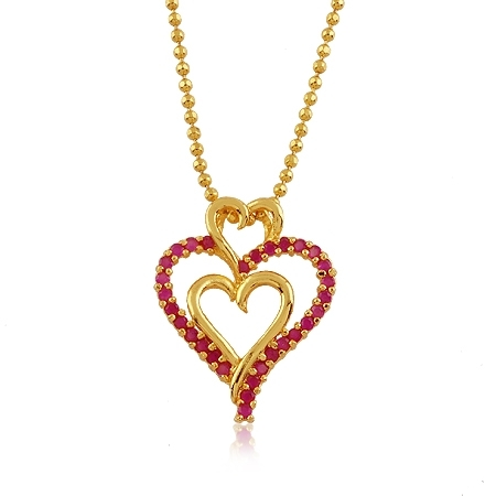 24K Yellow Gold Plated Ruby Corundum Triple Heart Pendant Necklace