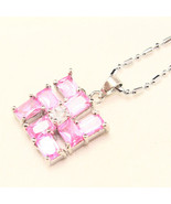Light Pink Sapphire Accent and CZ Emerald Cut S... - $12.00