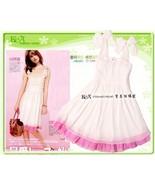 White Chiffon Ruffled with Pink Hem Dress  - $5.00