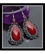 Red Tibetian Silver Crystal Teardrop Earrings - $11.95
