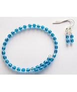 Blue Memory Wire Bracelet Earring Jewelry Set  - $16.00