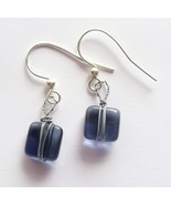 Colorado Blue Square Dangle Silver-Plated Earrings - $6.00