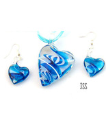 Blue Heart Tornado Swirl Lampwork Necklace Earr... - $12.95