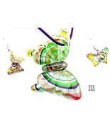 Green Butterfly Lampwork Earrings n Necklace Set  - $12.95