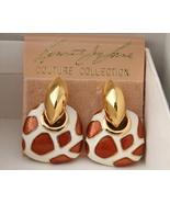 Kenneth Jay Lane giraffe enamel gold clip earri... - $42.00