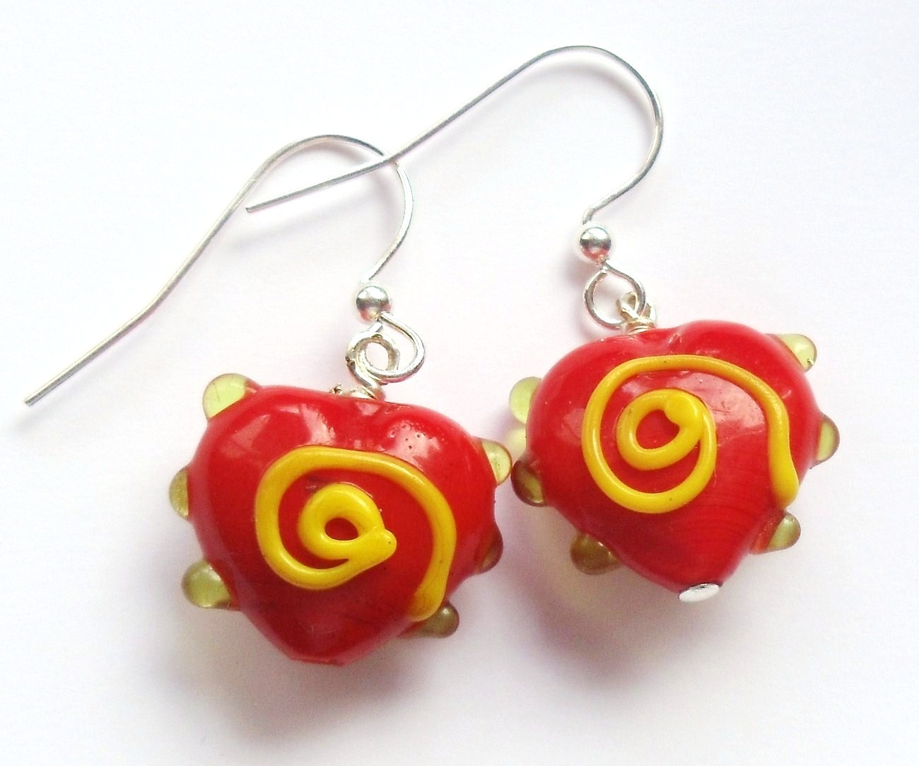 FUN Red and Yellow Swirl Heart Valentine Lampwork Glass Bead Earrings