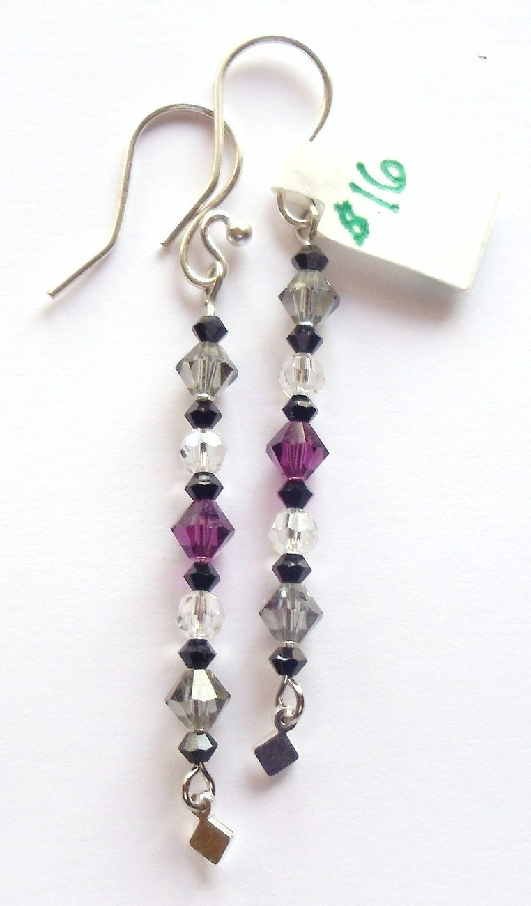 GENUINE Swarovski Amethyst, Crystal and Black Earrings