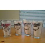 Budweiser Nascar  (4) Pint Glasses, Talladega, Daytona, Bristol & Atlanta EUC~ - $14.95