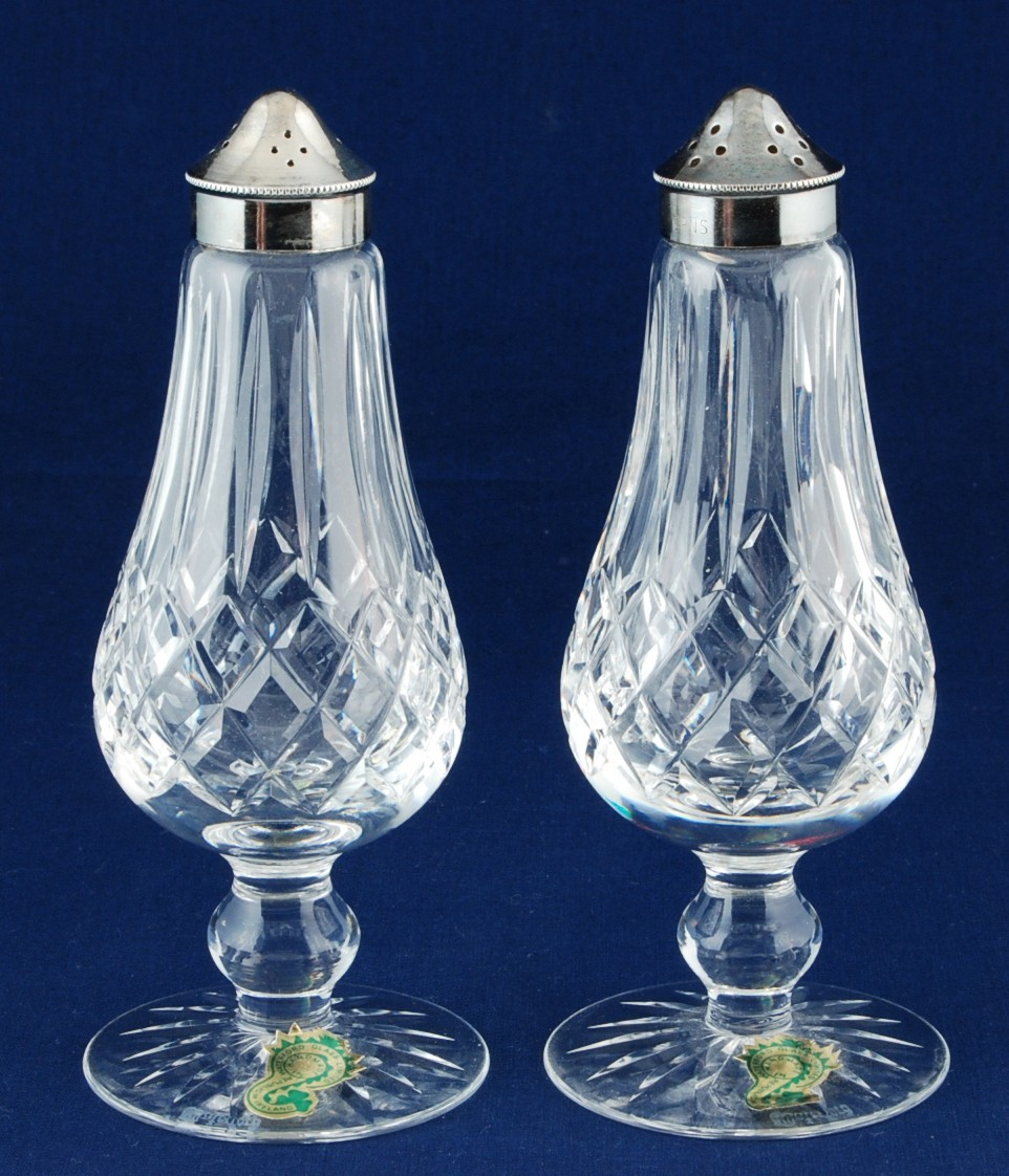 Salt Lamps Waterford : Waterford Crystal Lismore Footed Salt & Pepper Shakers Silver Plated Top New - Waterford