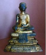 Antique Thai Buddha Bronze Gilt and Lacquered C... - $875.00