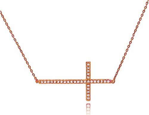 Rose Gold Sideways Cross Necklace - Pave - Kelly Ripa