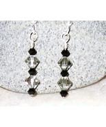 Swarovski crystal jet black and black diamond E... - $12.00