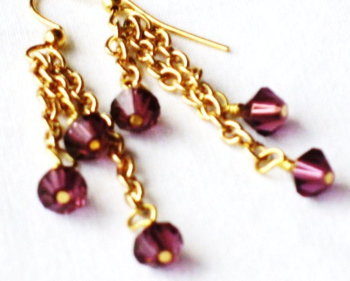 Swarovski crystal amethyst bicone drop earrings Gold-plated