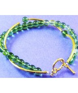 Twisted Bracelet, Gold and Green - $9.00