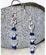 GENUINE Swarovski Brystal Blue Clear Crystal Ea... - $12.00